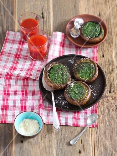 Grilled portobello mushrooms stuffed with rocket pesto