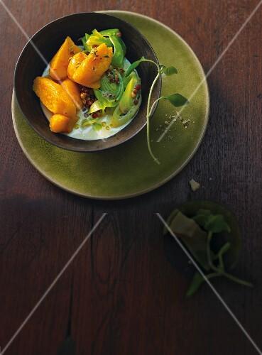 Pumpkin gnocchi with leek and lentils