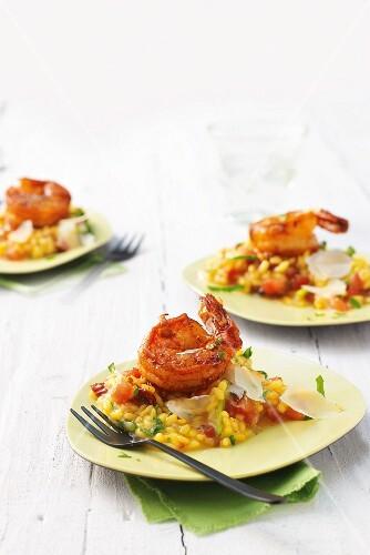 Saffron and tomato risotto with prawns