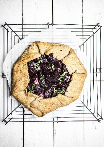 Beetroot galette on a wire rack
