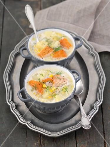 Fish soup with hot-smoked salmon, potatoes, leeks and sweetcorn
