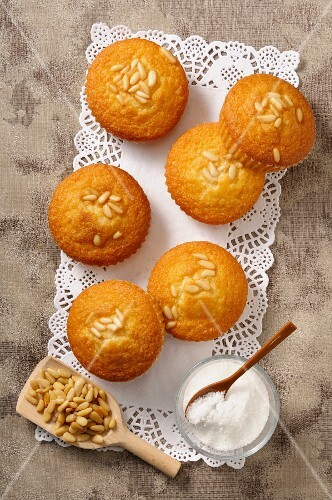 Madeleines with pine nuts