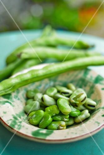 Freshly shelled broad beans