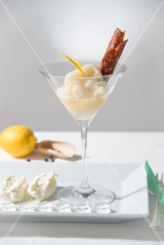 Gin and tonic sorbet with a brittle wafer