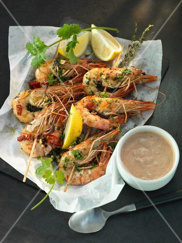 Fried herb prawns with chillis and a dip