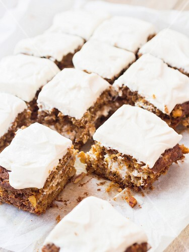 Carrot cake, diced