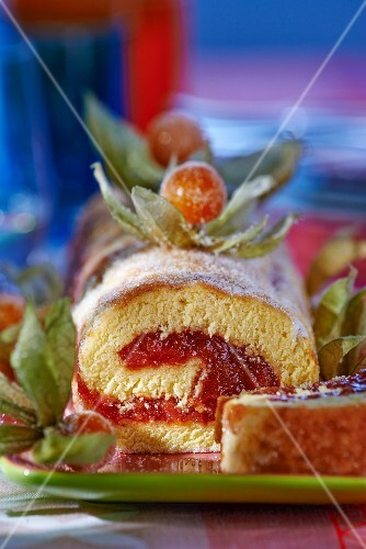 A Swiss roll with a physalis filling