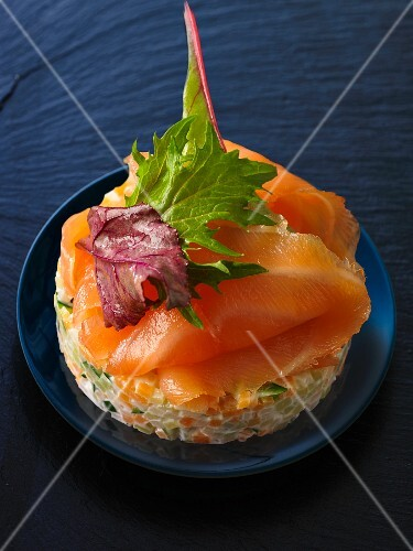 Smoked salmon on vegetable timbale