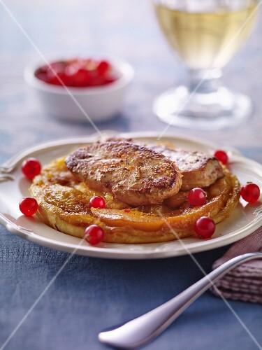 Mango and foie gras tarte tatin