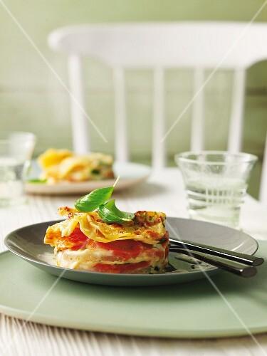 Kohlrabi and carrot lasagne with basil
