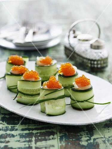 Cucumber rolls with caviar