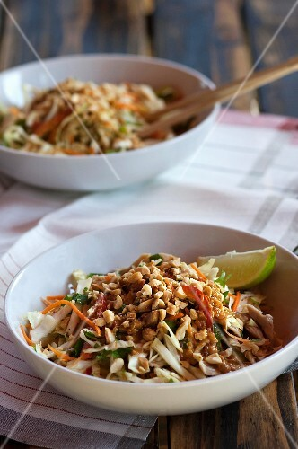 Chicken salad with vegetables and peanuts (Thailand)