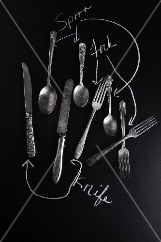 Old knives, spoons and forks on a slate surface with labels