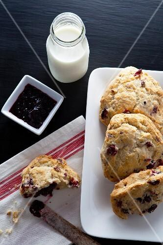 Scones, jam and milk