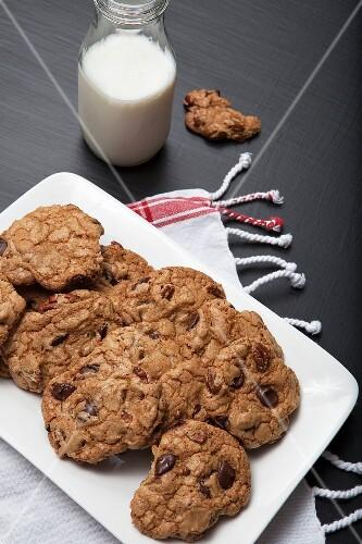 Chocolate chip pecan nut cookies and milk