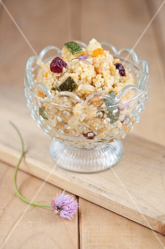 Couscous with pumpkin, courgette and cranberries
