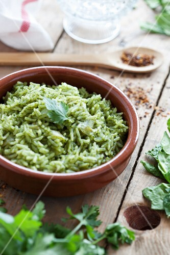 Herb rice with spinach and coriander