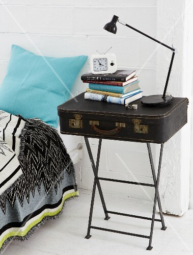 A homemade bedside table a suitcase on a vintage style metal side a homemade bedside table a suitcase on a vintage style metal side table watchthetrailerfo