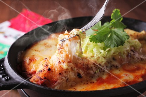 Steaming enchiladas with cheese and coriander (Mexico)
