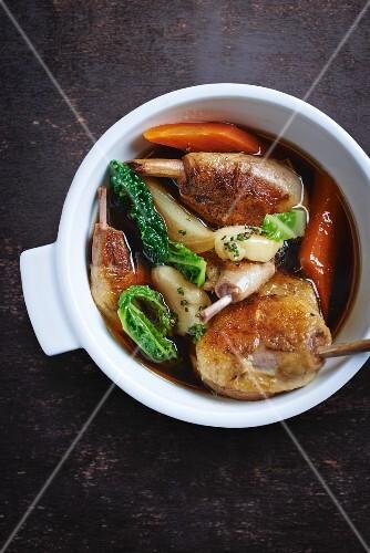 Vegetable stew with chicken legs