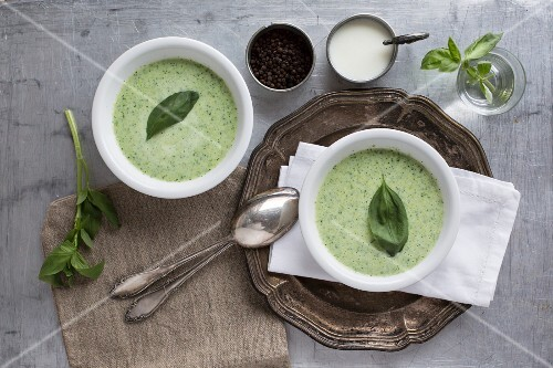 Basil and soured milk soup (seen from above)