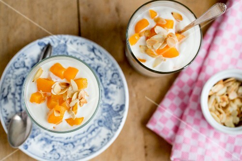 Peach quark with flaked almonds