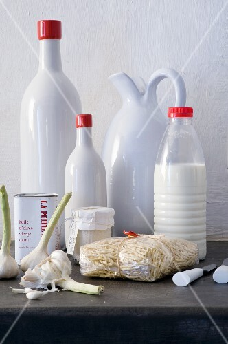 Ceramic bottles, olive oil, milk bottles, pasta and garlic