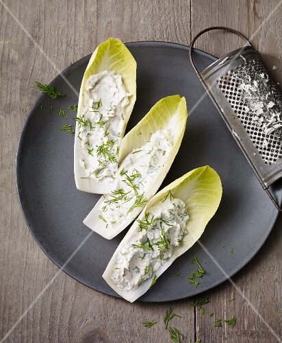 Smoked trout cream with horseradish and dill on chicory