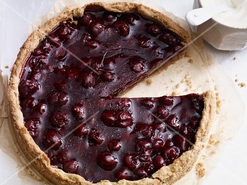 Gluten-free cherry and buckwheat cake