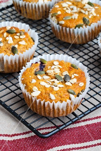 Breakfast muffins with blueberries and sunflower seeds