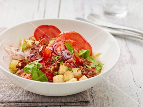 Tomato salad with a bacon dressing