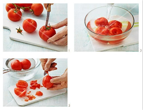 Tomatoes being prepared