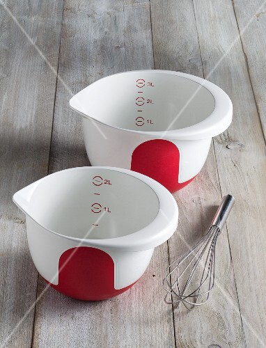 Plastic bowls and a whisk