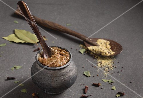 Homemade hot mustard with black sesame seeds