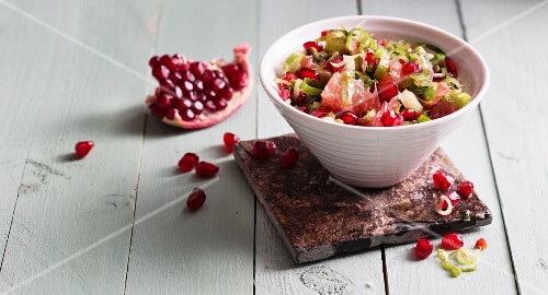 Grapefruit and pomegranate salsa with spring onions