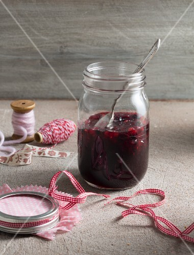 Homemade Christmas jam made from berries, pears and red wine