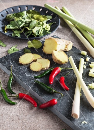 Fresh chilli peppers, ginger and lemongrass