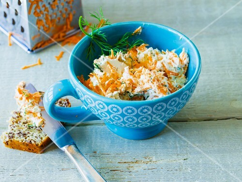 Carrot, horseradish and cream cheese spread with dill