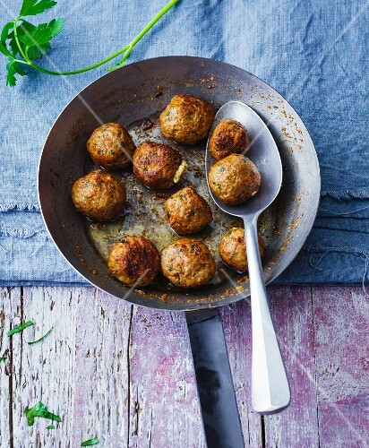 Herb meatballs filled with sheep's cheese