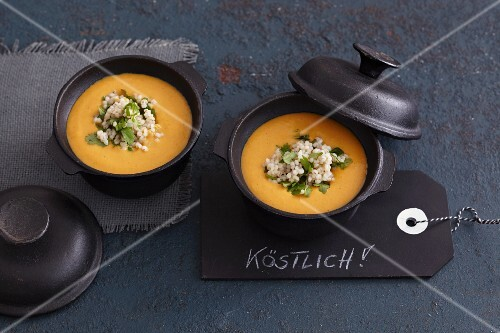 Sweet potato and coconut soup with papaya and pearl barley