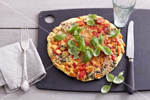 Buckwheat omelette with sweet potatoes and red peppers