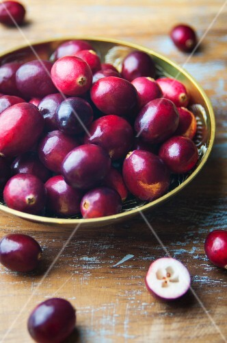 Fresh cranberries in a brass bowl