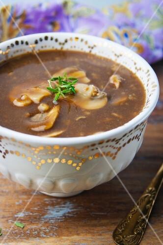 A bowl of vegetarian mushroom sauce
