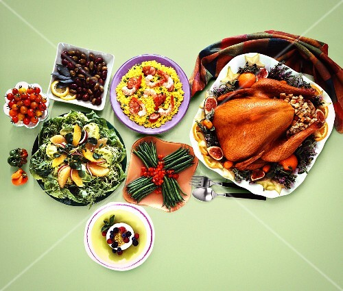 Turkey and sides on a buffet (USA)