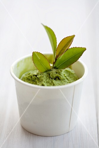 Green tea ice cream with leaves