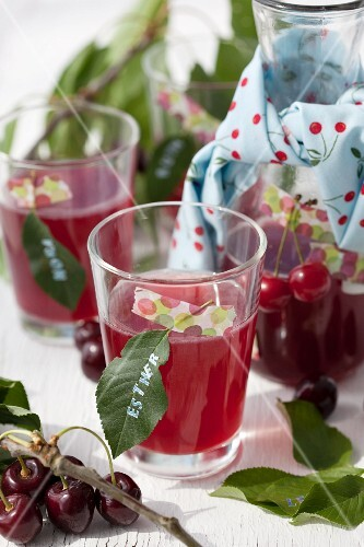 Cherry juice with a name tag