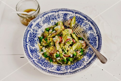 French peas and asparagus salad with radishes and anchovies