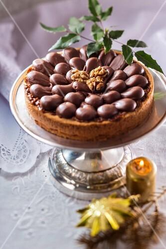 Christmas chocolate and walnut cake from Poland