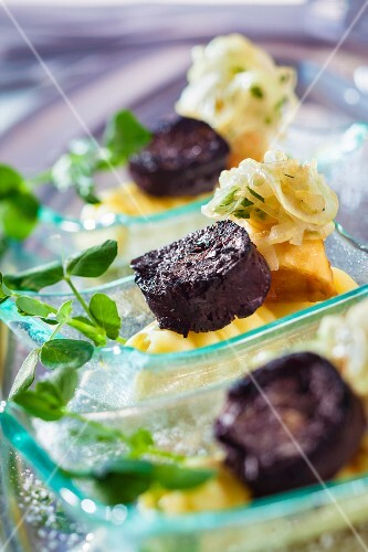 Fried black pudding with an apple and onion purée