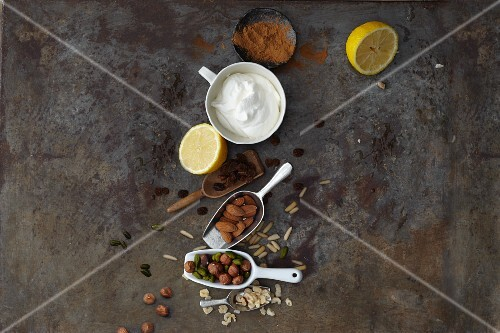 Nuts, spices and whipped cream
